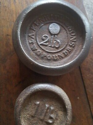 £7 • Buy VINTAGE CAST WEIGHTS IRON SCALE WEIGHTS, 2 Lb And 1 Lb  Marked Weights