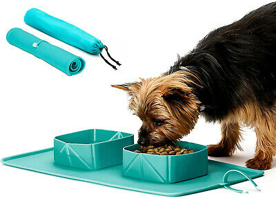 £4.99 • Buy Travel Dog Water Collapsible  Bowl  Portable Pet Roll Up Silicone Dish Feeder
