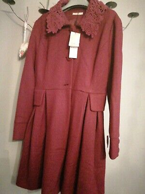 £17.99 • Buy Darling Burgundy Coat Large Nwt Rrp £95 Polyester And Wool Mix Fabric