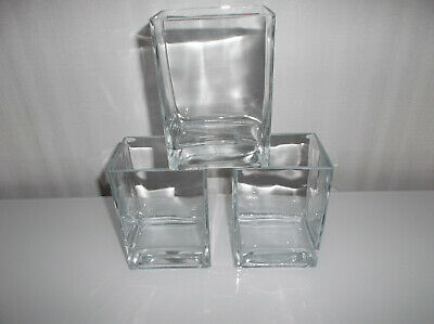£7.99 • Buy Set Of Three Rectangular Cube Clear Glass Vases.