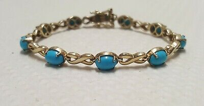 £25 • Buy 925 Sterling Silver Gold Plated Turquoise Kiss Infinity Tennis Link Bracelet