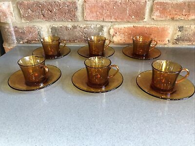 £50 • Buy Vintage Set Of 6 French Duralex Amber Glass Cups And Saucers Coffee Espresso 70s