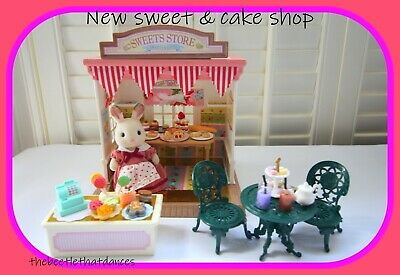 £35 • Buy Sylvanian Families Decorated Sweet/Cake Shop/House Rabbit, NEW Table & Chairs ++