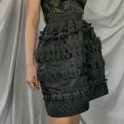 £190 • Buy Christian Lacroix Black High-waisted Above-the-knee Balloon Skirt Silk New Tags