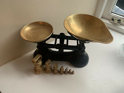 £9.99 • Buy Vintage Cast Iron Scales With Brass Pan & Weights
