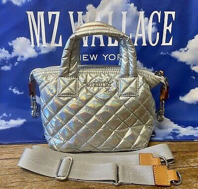 $89.95 • Buy Authentic MZ Wallace Small Micro Sutton XXS In HOLOGRAPHIC W/ Silver Hardware