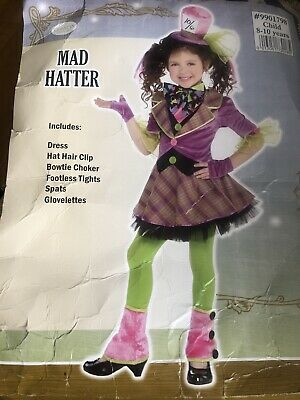 £7.99 • Buy Girls Mad Hatter Dress Up Costume Outfit Alice In Wonderland 8-10 Yrs