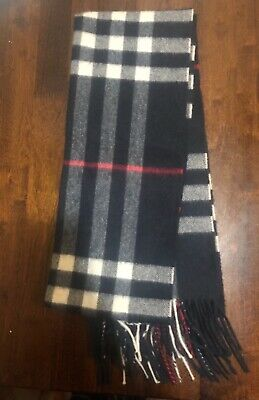 £155.99 • Buy Burberry The Classic Check 100% Cashmere Scarf Navy