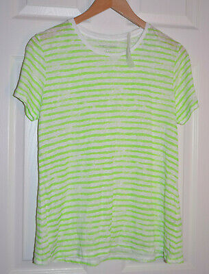 $32 • Buy Majestic Filatures New With Tags Linen Scoop Deluxe Tee Lime Striped NWT