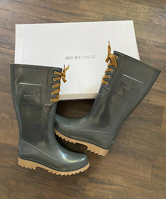 £40 • Buy *See By Chloe* Wellington Boots, Size 40. Grey Purchased Bloomingdales For $200!