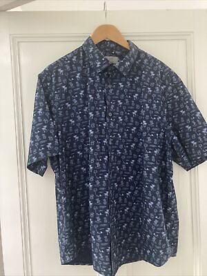 £4.50 • Buy M&S Collection Blue Palm Tree Tropical Print Shirt Size XXL