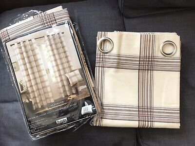 """£29.99 • Buy Dunelm Mill Eyelet Curtains Natural Checked Lined 90 X 54"""" 229 X 137cm NEW"""
