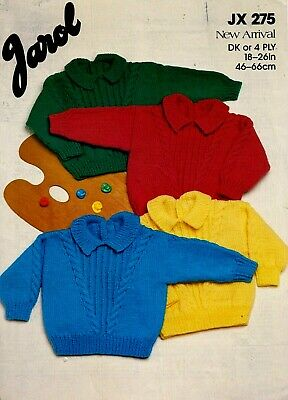 £0.85 • Buy Jarol New Arrival DK, 4 Ply KNITTING PATTERN, Baby Toddler Cable / Rib Sweater