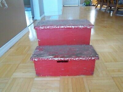 £46.79 • Buy Vintage Rustic Handcrafted 2 Step Stool 11  Tall Wooden Step Stool Red Paint