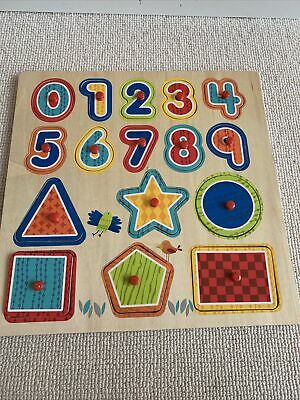 £3.50 • Buy Gorgeous Wooden Number Shapes Wooden Tray Educational Puzzle By Toys R Us
