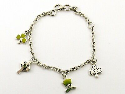 £19.99 • Buy Vintage Sterling Silver Charm Bracelet With Connemara Marble Charms Kit Heath