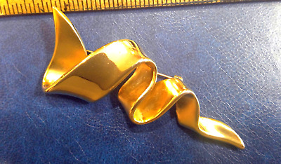 $7.95 • Buy Goldtone Brooch Pin Signed M. Jent Pin 3  Long, About 1.25  At Its Widest