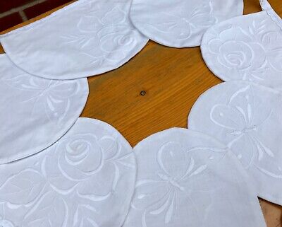 £17.99 • Buy White Vintage Bunting - Hand Embroidered Linens Roses Butterflies Wedding