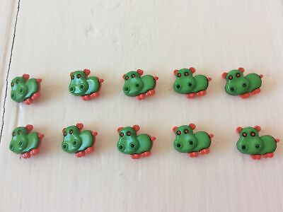 £1.50 • Buy Novelty Buttons, 10 Animals, Green And Red Hippos, Children's