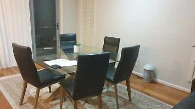 AU1 • Buy Square Dining Table & Chairs Set - 8 Pieces - Glass Top