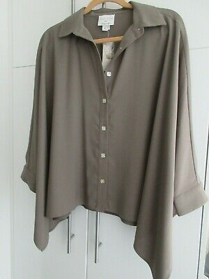 $39.99 • Buy Nwt Marla Wynne For Chico's Olive Gray Crepe Dolman Sleeve Shirt Size M