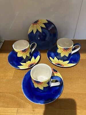 £10 • Buy Whittard Of Chelsea Hand Painted Coloured Expresso Coffee Cups Saucers X 3
