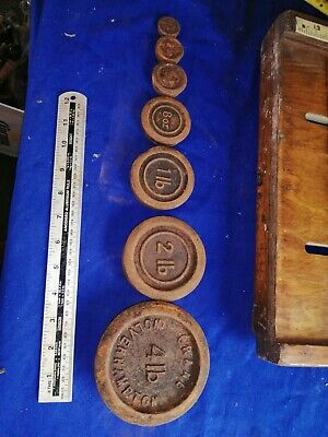 £25 • Buy Vintage Full Set Of 7 Cast Iron Kitchen Balance Scale Imperial Stacking Weights