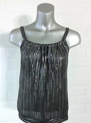 £15 • Buy Size 6 - 8 H&m Black Metallic LamÉ Pleated Cami Top Goth Whitby Party Summer
