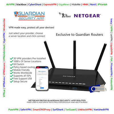 £189 • Buy Netgear R6700 Guardian App Router VPN Surfshark Nord PIA Ivacy Purchase Options