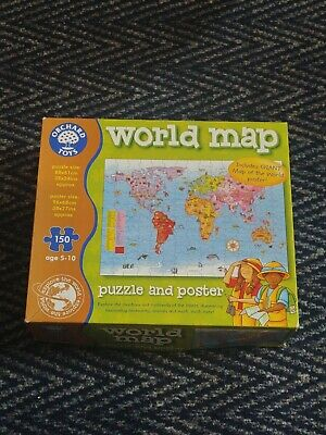 £3.99 • Buy ORCHARD TOYS WORLD MAP JIGSAW - COMPLETE - 150 PIECES AGE 5-10 Learning Aid