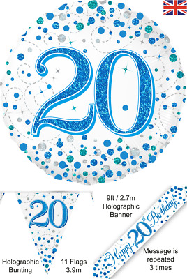 $4.22 • Buy 20th Birthday Blue Decorations Banners Balloons Bunting Birthday Party Supplies
