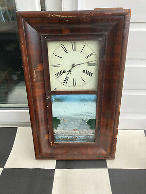 £40 • Buy Antique American Chauncey Jerome Wall Clock Incl Weights & Pendulum