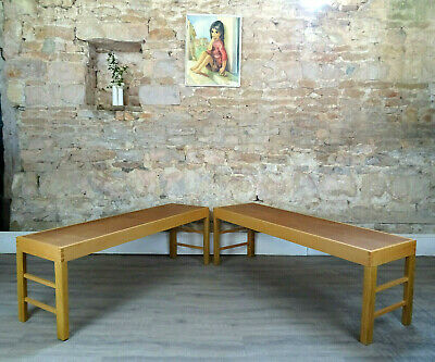 £125 • Buy Pair (2) Vintage Wooden Benches Kitchen Dining Seating Handmade Solid DELIVERY
