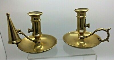 £24.99 • Buy Vintage Pair Of Brass Chamber Candle Holder With Snuffer & Release Trigger