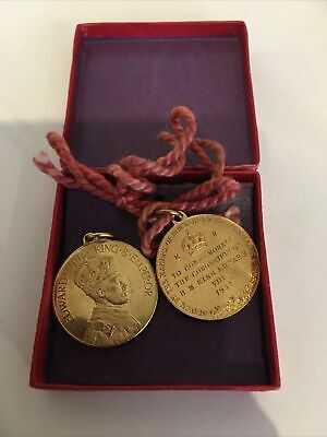 £20 • Buy 1937 King Edward VIII Coronation Gilt Medal Rowntrees Cocoa Jellies & GVMS Boxed