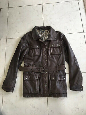 £19.99 • Buy Oakwood Gold Label Stunning Soft CoCo Brown Nappa Leather Belted Biker Jacket XL