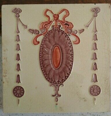 £15 • Buy Antique Festoon, Swag, Bow, Cartouche Tube Lined Relief Moulded ? Edwardian Tile