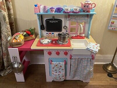 £45 • Buy ELC Wooden Farmhouse Play Kitchen Pink Blue & White Kids Childrens Toy Oven Hob