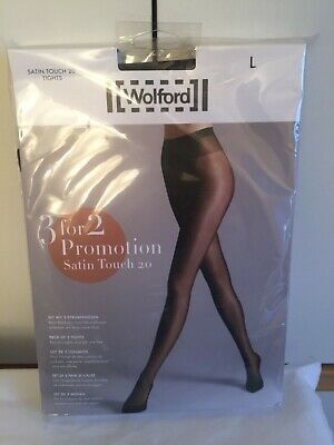 £6.50 • Buy Wolford Satin Touch 20 Tights  3 For 2 Promotion Pack In Large In Nearly Black/