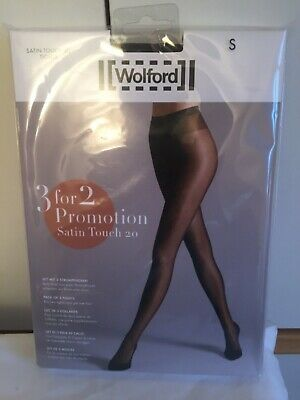 £9.99 • Buy Wolford Satin Touch 20 Tights  3 For 2 Promotion Pack In Small Nearly Black/