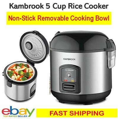 AU49.99 • Buy Kambrook 5 Cup Rice Cooker Vegetable Steamer Removable Bowl Keep Warm Stainless