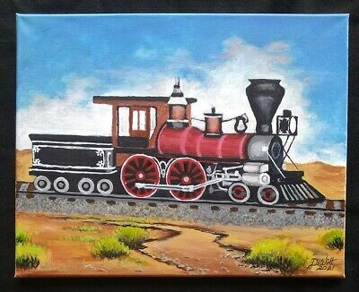 £177.06 • Buy Train Old Steam Engine Lover Painting Picture Acrylic On Canvas Calico