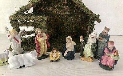 £26.91 • Buy Nativity Creche Stable Wood Wooden Manger & 9 Porcelain Figurines Christmas