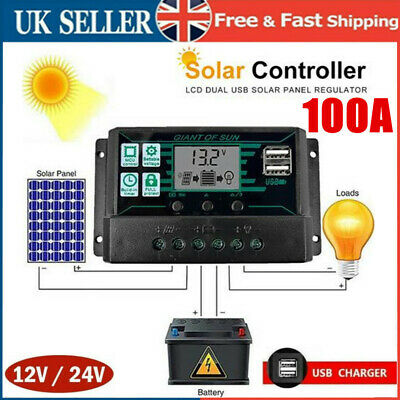£16.95 • Buy 100A LCD MPPT Solar Panel Regulator Charge Controller Auto Focus Tracking 12V24V