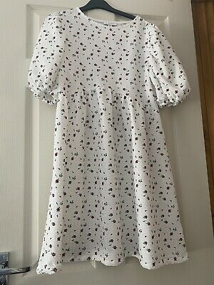 £9.20 • Buy Womens Topshop White Floral Babydoll Puff Sleeve Smock Dress Size 12 BNWT