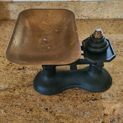 £22 • Buy Vintage Cast Iron Balance Scales With Imperial & Metric Weights And Pan