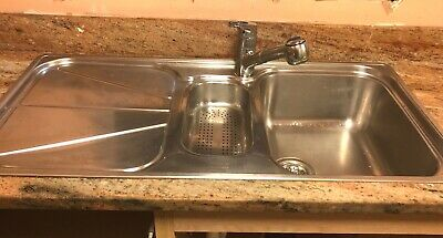 £30 • Buy Franke 1.5 Bowl Stainless Steel Sink With Plugs Strainer Pipes 100cm X 51cm VGC