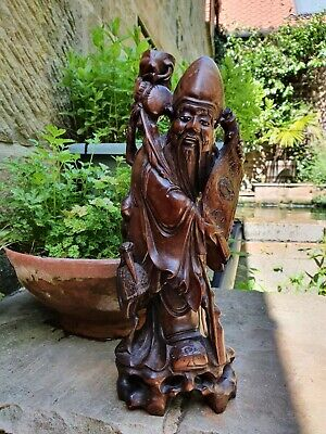 £36 • Buy An Exquisite Carved Wood Figure Of The Chinese Deity Shou Lao With Crane/scroll