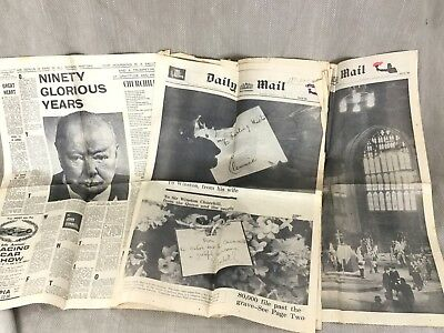 £30 • Buy Winston Churchill Newspaper Clippings Cutting Death Funeral Mixed Lot