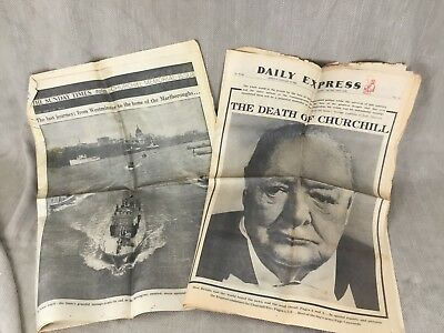 £30 • Buy Winston Churchill Newspaper Clippings Cutting Death Funeral Daily Express Times